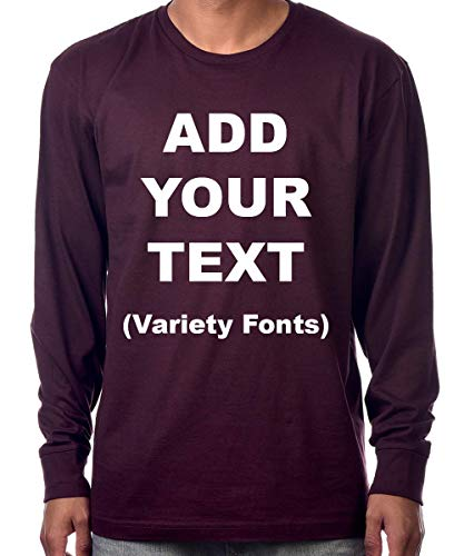Custom Long Sleeve Premium t Shirts Add Your Own Text for Men & Women Unisex Cotton [ Wine/L ]]()