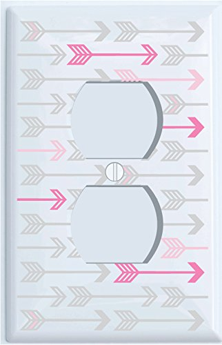 Pink, and Grey Arrow Print Outlet Covers/Arrows Woodland Forest Nursery Wall Decor for Baby Girls (Outlet Cover) by Presto Wall Decals