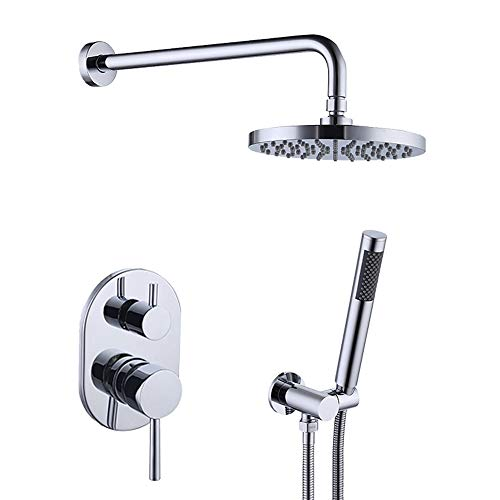 (KES Bathroom Single Handle Shower Faucet Trim Valve Body Hand Shower Complete Kit Modern Round, Chrome, XB6231 )