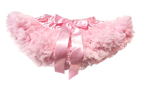 Full Fluffy Chiffon Pettiskirts for Girls (0-24 Months Small, Lt Pink) by Cuteque Bebe