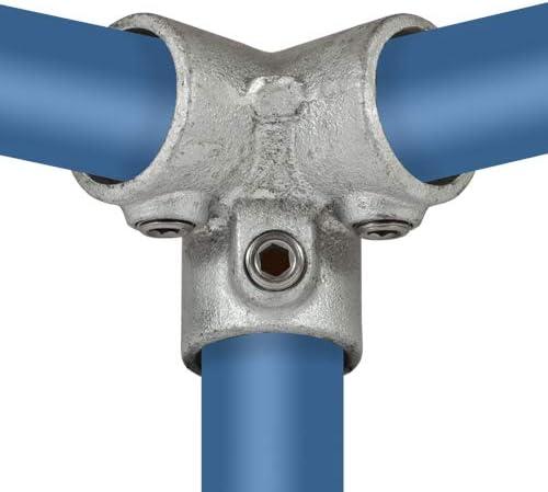 /Ø 42,4 mm Temperguss thermisch vollbadverzinkt inkl Rohrverbinder Dreiweg Eckst/ück 90/° Stellschrauben