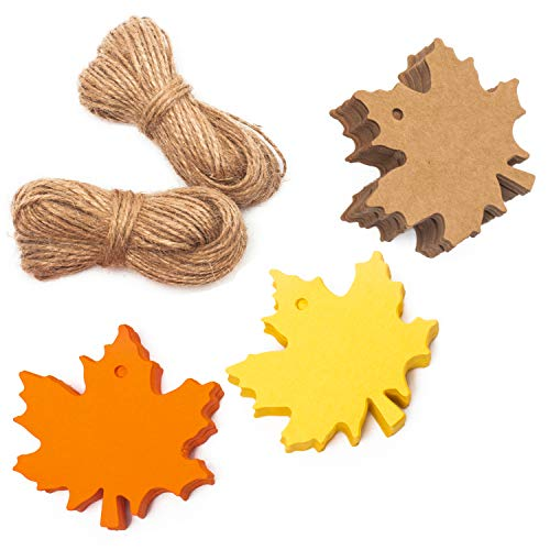 - Whaline 150 Pcs Gift Tags Maple Leaves Favor Paper Tags Favor with 131 Feet Natural Jute Twine for Autumn, Thanksgiving, Wedding, Craft Presents (3 Colors)