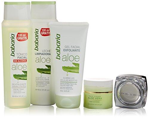 Babaria-Aloe-Vera-Crema-Rostro-Anti-Arrugas-Leche-Limpiadora-Tnico-Facial-Exfoliante-Facial-1-Pack