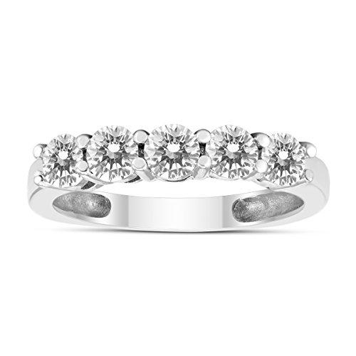 1 Carat TW Five Stone Diamond Wedding Band in 14K White - Band Diamond Five Tw Stone