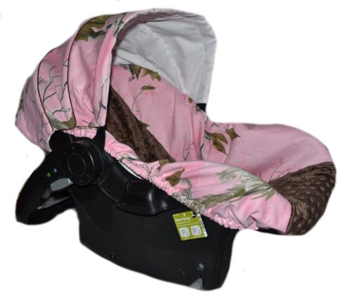 Infant-Car-Seat-Cover-Baby-Car-Seat-Cover-Slip-Cover-Pink-Camo-with-Brown-Minky-Dot