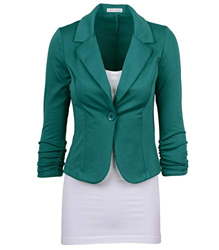 Auliné Collection Women's Casual Work Solid Color Knit Blazer Green Teal 3X -