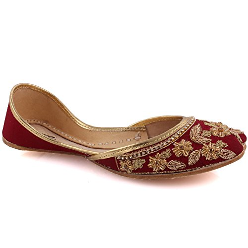 Unze New Women Traditional 'Agate' Handmade Embroidered Leather Flat Indian Khussa Pump Slippers Shoes Size 3-8 – Un-12