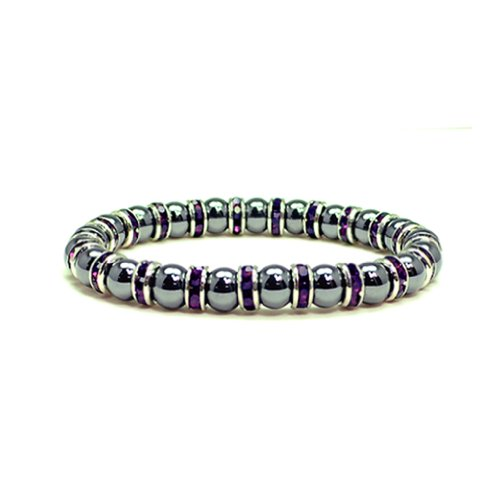 Accents Kingdom Women's Magnetic Hematite Tuchi Simulated Pearl Bracelet with Simulated Amethyst Crystal, 7.5