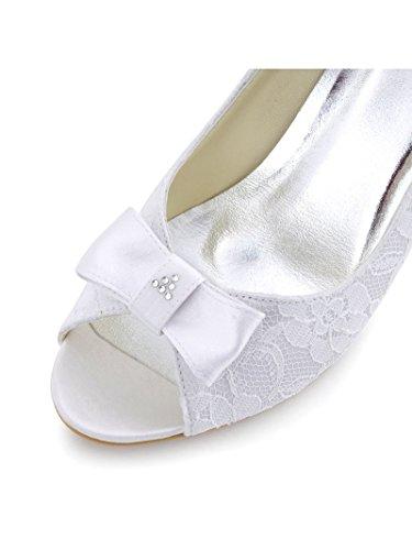ElegantPark WP1414 Mujer Cordones Satén Peep Toe Arcos Rhinestones Cuñas El tacón Alto Bombas Zapatos De Novia Ivoire