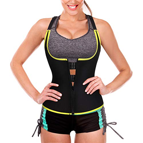 Ursexyly Sauna Sweat Waist Trainer Vest with Zipper Hook for Weight Loss Gym Workout top (Black Tank, XL) (Best Way To Get Rid Of Muffin Top Fat)