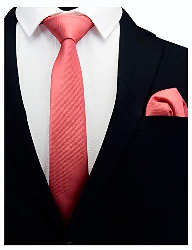 GUSLESON Coral Pink Skinny Tie For Men Slim Solid Rose Blush Necktie and Pocket Square Set (0754-16)