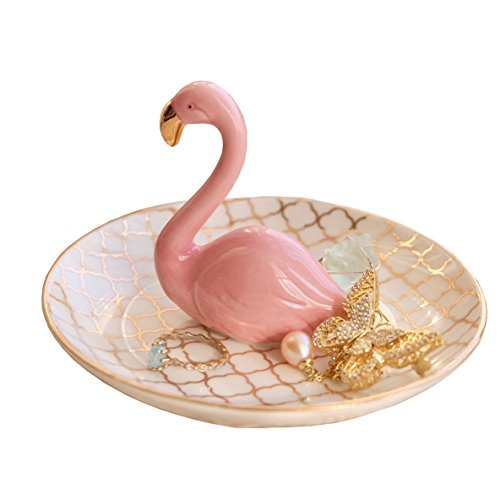 PUDDING CABIN Flamingos Ring Dish Holder Engagement Wedding Gift Ring Display Earrings Necklace Bracelet Jewelry Tray by PUDDING CABIN