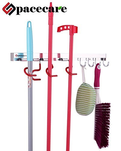 SPACECARE Mop and Broom Holder, wall Organizer Tool Storage & Organization for Home, Closet, Wall Broom Garage Rack,multi Function Mops, Brooms, or Sports Holder 4 Positions Hooks