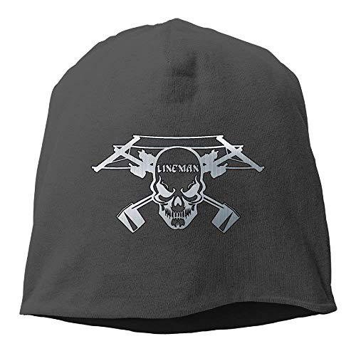 booskaneews LineAdult Skull Electrician Power Adult Knit Knit Hat Soft Stretch Beanies Skull Cap Hedging Cap Black Perfect for Sports & Daily Wear