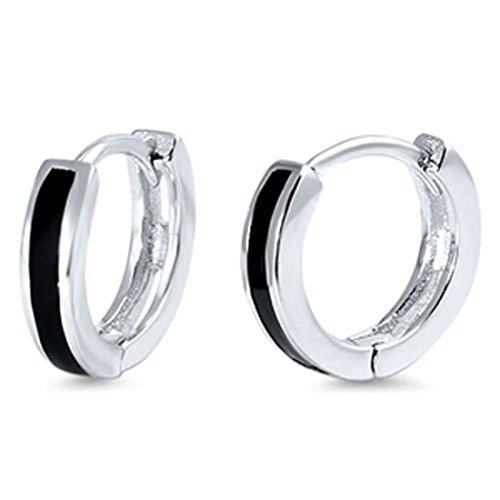 11mmx12mm Hoop Huggie Earrings Simulated Black Onyx 925 Sterling Silver