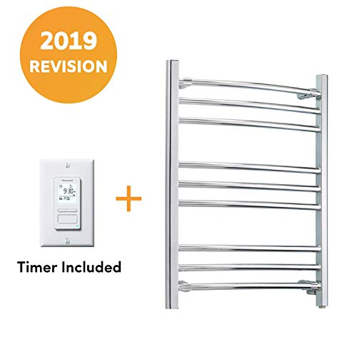 (WarmlyYours 9-Bar Riviera Towel Warmer, Hardwired, Polished Stainless Steel)
