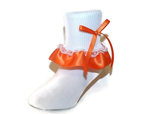 Ruffle Ankle Socks Satin & Lace Bow Assorted Colors for Baby to Girls (6-7.5 Girls, Orange) (Bow Socks Orange)
