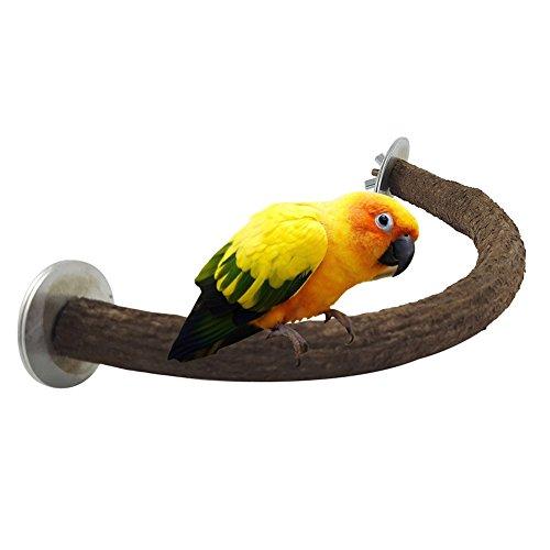 loinhgeo-Durable Pet Bird Toy,Parrot Scratching Chewing Standing Stick Natural Wood U-Shape Bird Stand Perch - Wood S