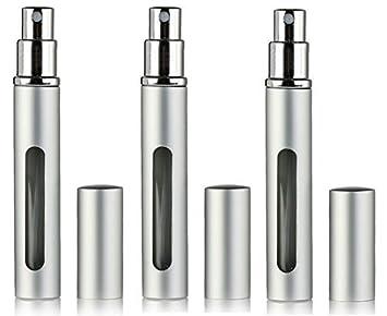 6a43202f3ee1 3 Pc Travel Refillable Perfume Atomizer Bottle Spray, Aluminum 5ml, Empty  Spray Scent Pump Case...