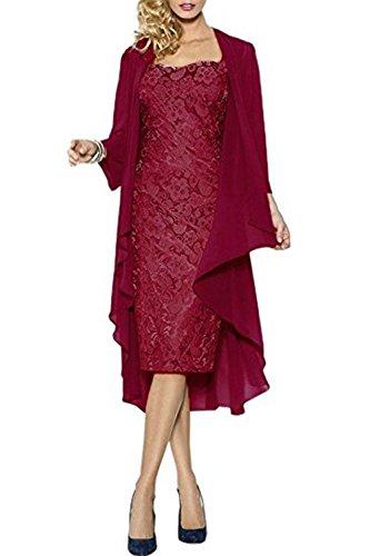 Partykleid Abendkleid Hochzeitskleid Abendkleider Brautmutterkleid Hochzeit Jacke Rot Ballkleid CoCogirls Mutter mit Spitze BIxYYw