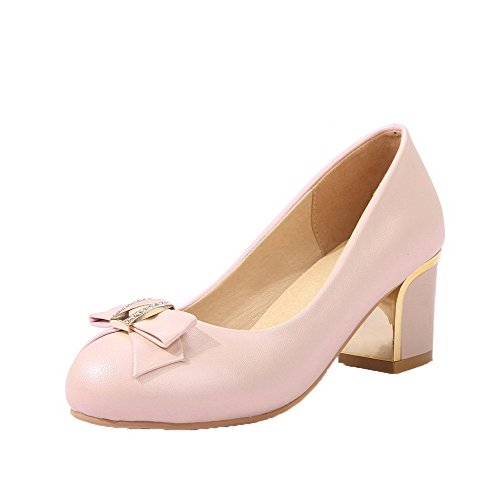 VogueZone009 Women's Solid PU Kitten-Heels Round-Toe Pull-On Pumps-Shoes Pink JF7e8FFZ