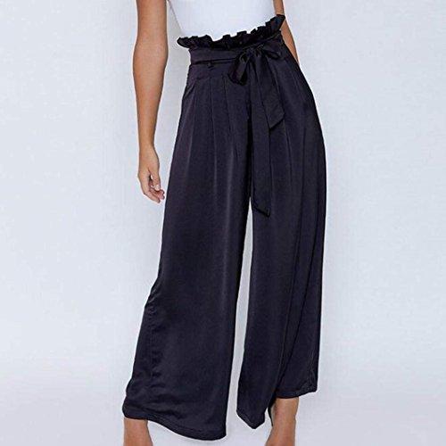 Cintura Pantalones Cómodo Fashion Las Mujeres De Libre Casuales Alta Negro Mujer Anchos Con Negocios Anchas Cinturón Unicolor Palazzo Elegantes Tiempo gqPdnwE0