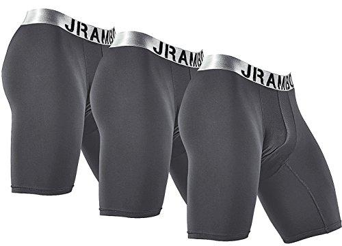 Traditional Brief Underwear (JRAMBO Brand Underwear Boxer Briefs Men Exercise Sports Active Shorts No Skin Chafing Do Sports (3 Pairs) Gray Medium)