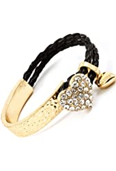 Gold Plated and Black Cord Crystal Pave Heart Bracelet