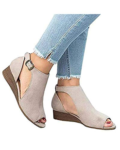 Shetao Womens Open Toe Ankle Strap Cutout Double Buckle Zipper Back Stacked Heel Sandals