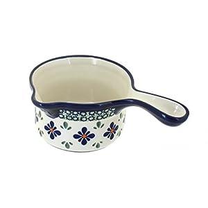 Blue Rose Polish Pottery Mosaic Flower Sauce Pot