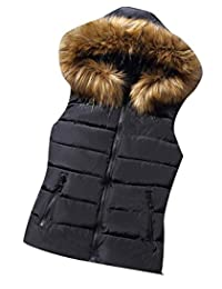 Oberora-Women Winter Zip Up Faux Fur Hood Warm Down Vest Waistcoat Jacket Outerwear