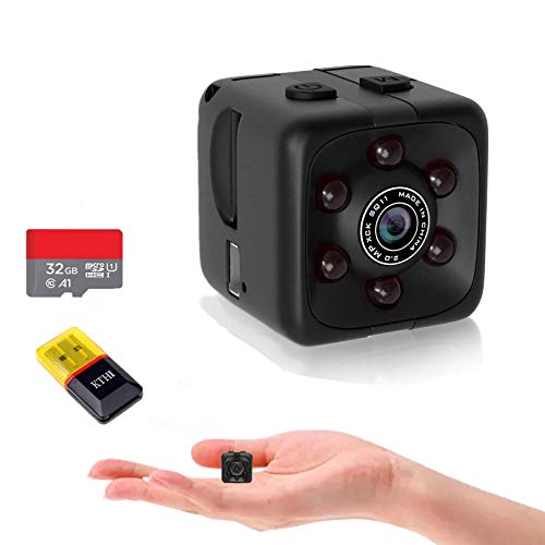 OUCAM Mini Spy Camera Include 32G SD Card Hidden Camera HD Audio and Video Recording, Night Vision Motion Detection, Surveillance Camera Small Dog Camera Nanny Cam Baby Monitor Home Security Camera