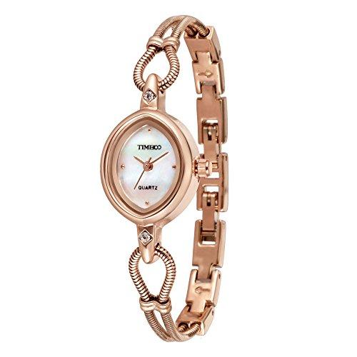 Time100 Women's Fashion Unique Luxury Diamond Round Dial Leaf Shape Bracelet Ladies Quartz Wrist Watches (Gold (Gold Plate Diamond Watch)