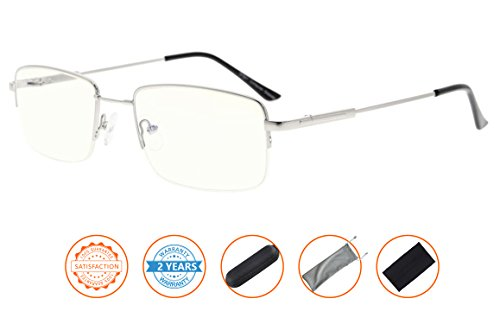Blue Light Blocking,UV Protection,Reduce Eyestrain,Memory Titanium Eyewear,Half-rim Computer Gaming Reading Glasses(Silver) - Rims Rays