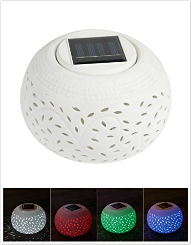 IREALIST Ceramic Night Light Color Changing LED Lights Rechargeable Waterproof Table Lamp Solar Party Lights for Festival Gifts Indoor or Outdoor - Glasses Really Do Vision Night Work