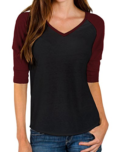 REGNA X Womens v-Neck Raglan Cotton-Blend t-Shirts Top Red