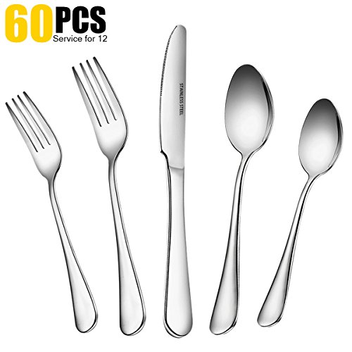 Dinner Spoon Set - 60 PCS Silverware Flatware Set with Dinner Knives, Forks and Spoons of Dessert & Dinner, Anti-rust Stainless Steel Cutlery Set Modern Kitchen Tableware Dinnerware by Umite Chef