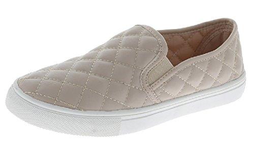 Collezione Slip On Sneakers Trapuntate Moda Scarpe Con Suola Bianca Punta Chiusa Lt. Abbronzatura
