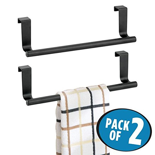 mDesign Decorative Kitchen Over Cabinet Stainless Steel Towel Bar - Hang on Inside or Outside of Doors, Storage and Display Rack for Hand, Dish, and Tea Towels - 9'' Wide, Pack of 2, Matte Black by mDesign