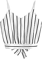 MakeMeChic Women's Self Tie Back V Neck Crop Cami Top Camisole 2-White One-Size