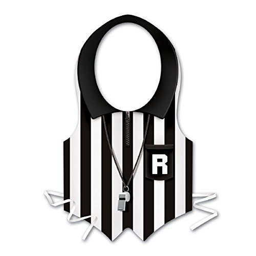 (Club Pack of 24 Black and White Plastic Referee Vest Costume Accessories)