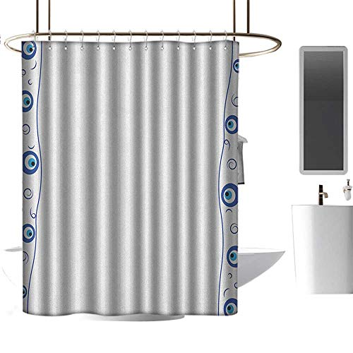 """TimBeve Home Decor Shower Curtain by Evil Eye,Evil Eye Borders Spirals Swirls Good Luck Charm in Traditional Design, Blue Pale Blue White,Metal Rust Proof Grommets Bathroom Decoration 70""""x70"""""""