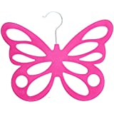 Pink Butterfly Design Flocked Scarf Hanger by West5Products