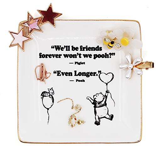 Winnie The Pooh Quotes and Saying Ring Jewelry Holder Dish gifts for sister friends Girl daughter Room Bedroom Decor (Best Friends Winnie The Pooh)