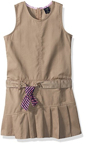 U.S. Polo Assn. Little Girls' Dress or Jumper (More Styles Available), Twill Khaki-SAHK, (Twill Jumper)