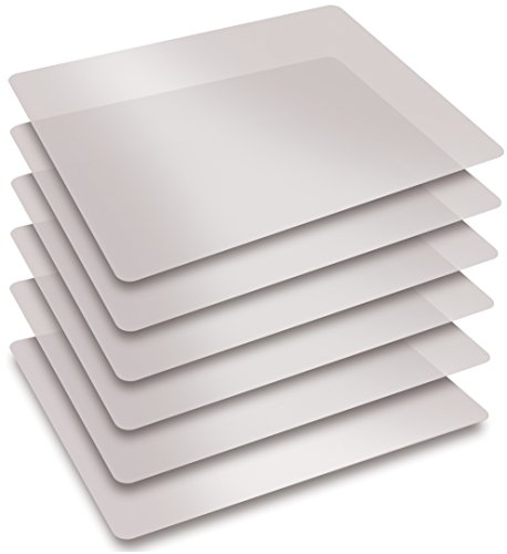 Extra Thick Flexible Frosted Clear Plastic Cutting Mats, Set of 6, by Better Kitchen Products (Square Large Board)