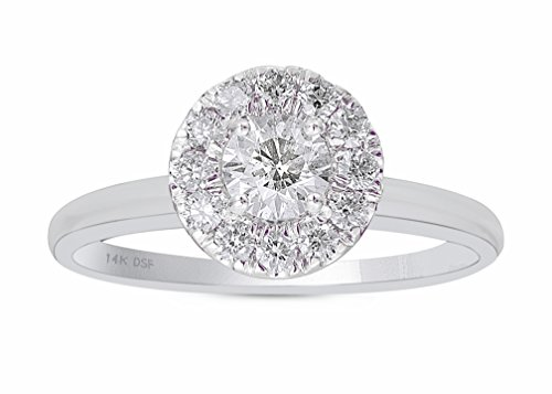 Diamond Studs Forever 14K White Gold Diamond Halo Engagement Ring (1.00 Ct tw, IGI USA Cert. GH/I1)