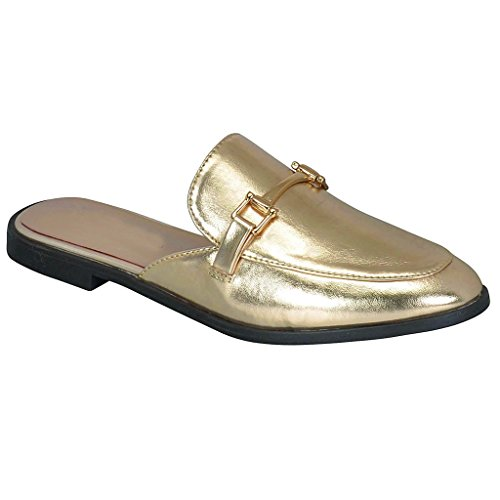 Women Mule Oxford Slide Slip On Flat Sandal Shoe Loafer (Champagne)