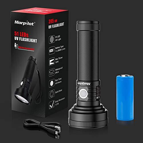 Morpilot®UV-Taschenlampe, mit 51 LED, 395-nm-Taschenlampe Tragbarer UV-Licht-UV-Detektor zur Erkennung von Flecken, Urin und Skorpion von Haustieren, Micro-USB-Kabel und Batterie