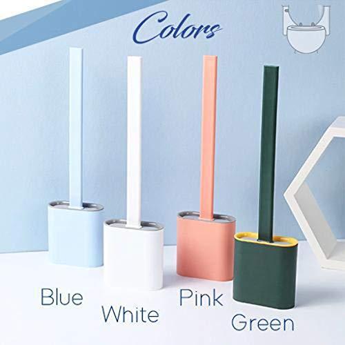 clacce Kreative Silikon-Toilettenbürste mit Halter, der Wand montiertes,Flexibles Badezimmer-Toilettenschüssel Reinigungsbürstenset,Tiefenreinigungs-Schnelltrocknungsbürste mit Saugfähiges Handtuch